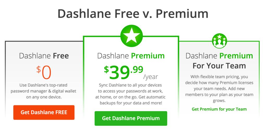 Best Password Manger - Dashlane Pricing