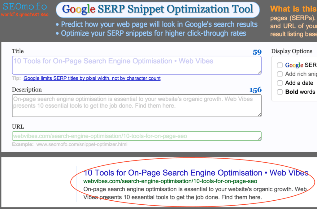 SEO Mofo - Tools for on-page SEO